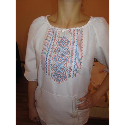 "Embroidered  blouse ""Fantastic Flowers Orange&Blue"""