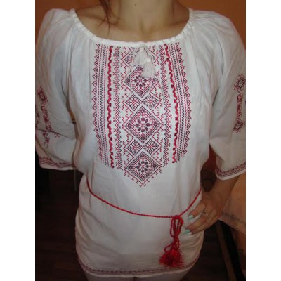 "Embroidered  blouse ""Fantastic Flowers Red on White 1/2 sleeve"""