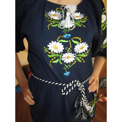 "Embroidered blouse ""Chamomiles on black"""