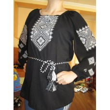 "Embroidered  blouse ""Diamonds White on Black"""