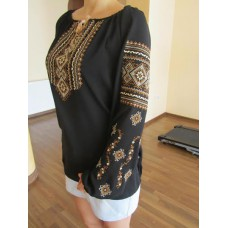 "Embroidered  blouse ""Fantastic Flowers Brown on Black"""