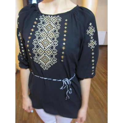 "Embroidered  blouse ""Shining Moon Bronze on Black 1/2 sleeve"""