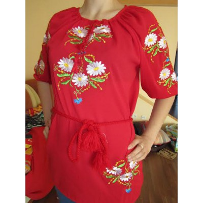 "Embroidered blouse ""Chamomiles on Red"""