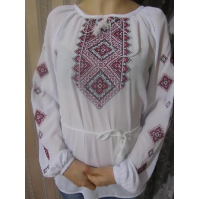 "Embroidered  blouse ""Diamonds Red on White"""