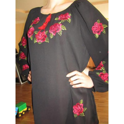 "Embroidered  blouse ""Roses on Black"""