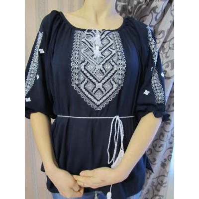 "Embroidered  blouse ""Chiffon Weaving White on Black"""