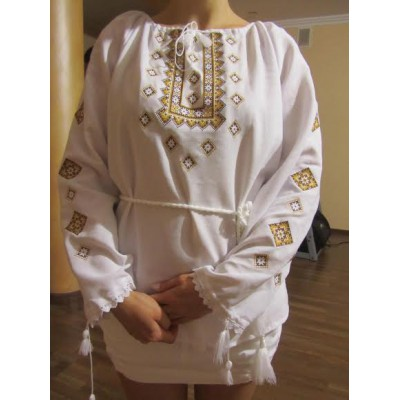 "Embroidered  blouse ""Twinkling Stars Golden on White"""