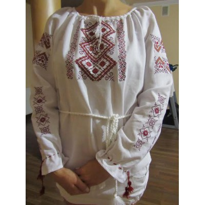 "Embroidered  blouse ""Ornaments Brown&Red on White"""