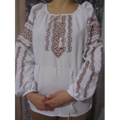 "Embroidered  blouse ""Lace Brown on White"""