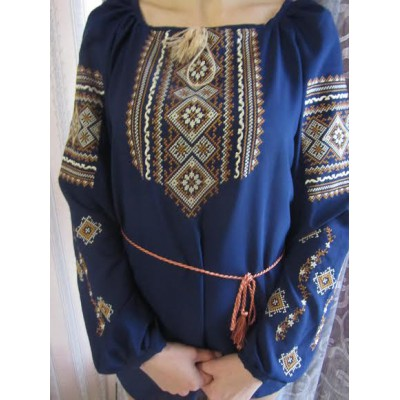 "Embroidered  blouse ""Fantastic Flowers Golden on Blue"""