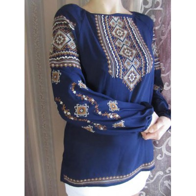 "Embroidered  blouse ""Fantastic Flowers Golden on Blue 2"""