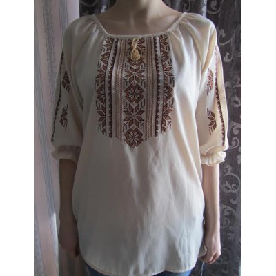 "Embroidered  blouse ""Magic Triangles Brown on Beige"""