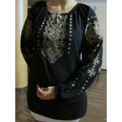 """Embroidered  blouse """"Shining Moon Bronze on Black"""""""