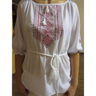 "Embroidered  blouse ""Fantastic Flowers Red on White"""