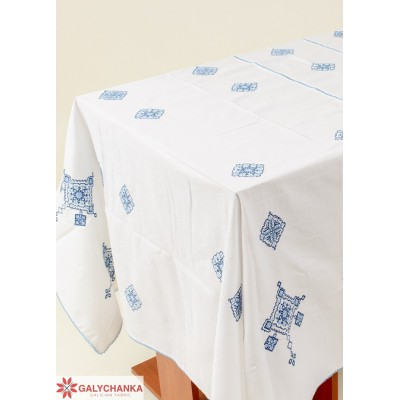"Embroidered Tablecloth ""Hospitable Ukraine"" blue"