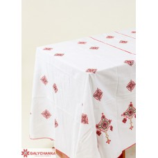 """Embroidered Tablecloth """"Hospitable Ukraine"""" red"""
