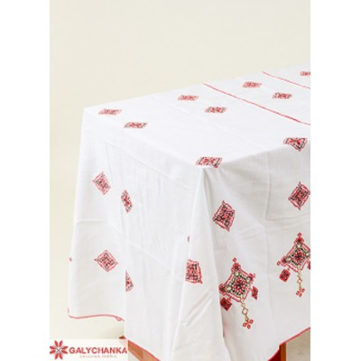 "Embroidered Tablecloth ""Hospitable Ukraine"" red"