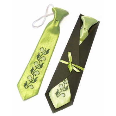 "Embroidered tie for a boy ""Green"""