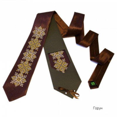"Embroidered tie for men ""Embroidered Brown 2"""