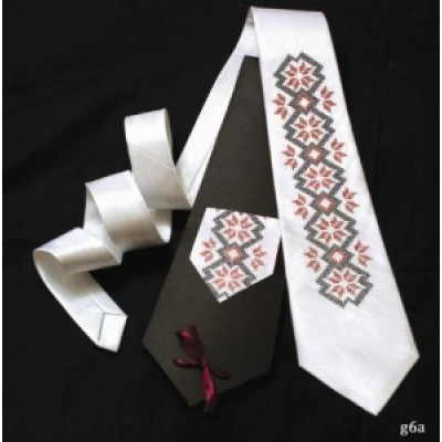 "Embroidered tie for men ""Embroidered White"""