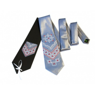 "Embroidered tie for men ""Embroidered Blue"""