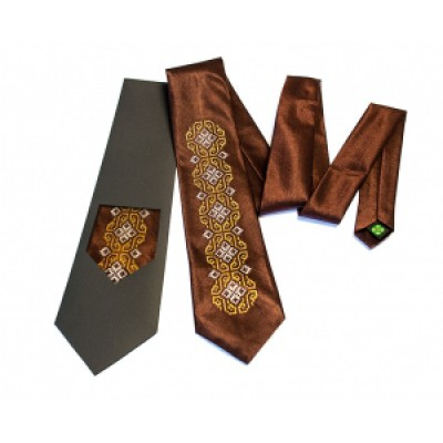 "Embroidered tie for men ""Embroidered Brown"""