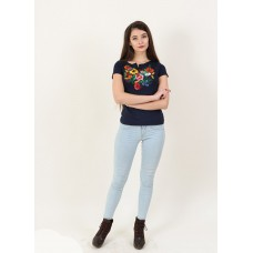 "Embroidered t-shirt ""Play"" navy blue"