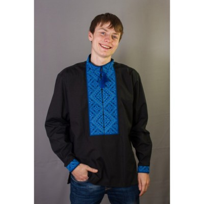 "Embroidered shirt ""Blue on Black"""