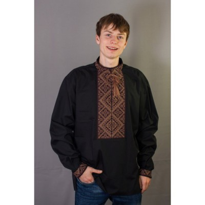 "Embroidered shirt ""Bronze on Black"""