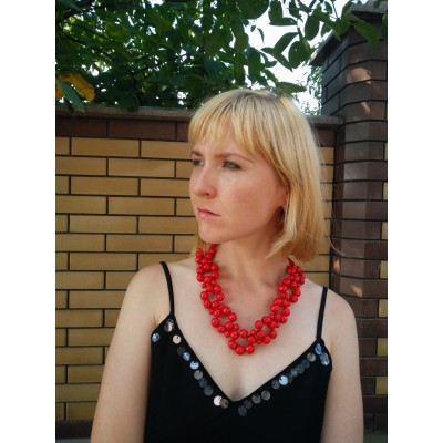 "Wooden Necklace ""Flowers"" red"