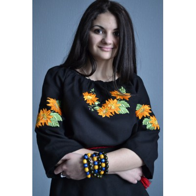 """Embroidered  blouse """"Sunflowers in Sunset 1"""""""