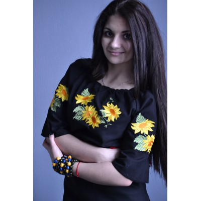 """Embroidered  blouse """"Sunflower in Sunset 2"""""""