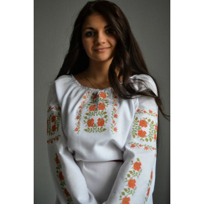 "Embroidered  blouse ""Country Side Orange"""