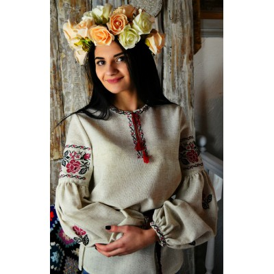 "Embroidered blouse ""Bohemian Linen Roses"""