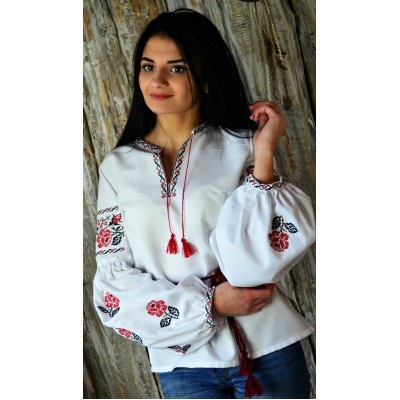 "Embroidered blouse ""Bohemian Cotton Roses"""
