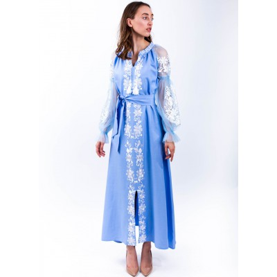 "Embroidered Boho Dress ""White Story"""