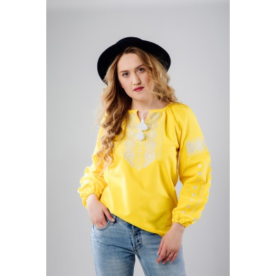 "Embroidered Blouse ""Dew Drop"" yellow"
