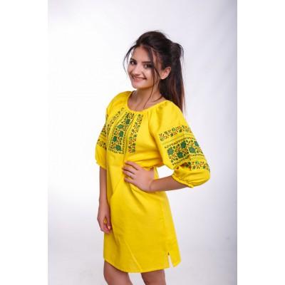 "Embroidered Classic Dress ""Rose Garden"" Yellow"