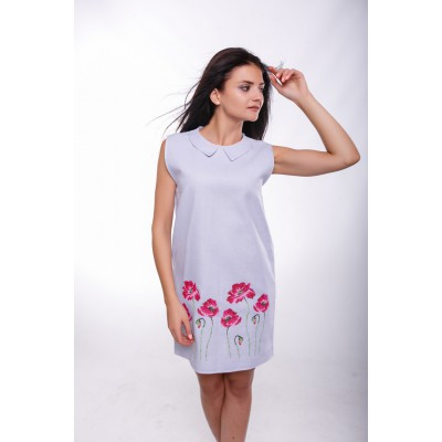 "Embroidered Classic Dress ""Poppies on Snow"""
