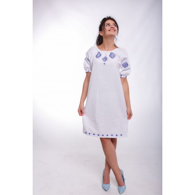 "Embroidered Classic Dress ""Winter Marvels"" handmade"