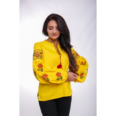 "Embroidered Blouse ""Bohemian Roses"" yellow"
