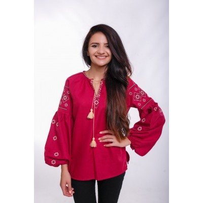 "Embroidered Blouse ""Delicate Rhombs"" mauve"