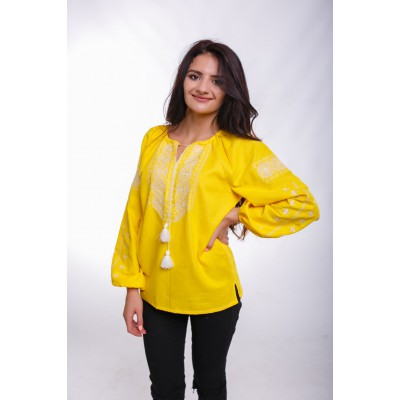 "Embroidered Blouse ""Happy Moments"" yellow"