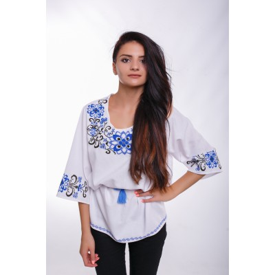 "Embroidered Blouse ""Flower Dew"" handmade"