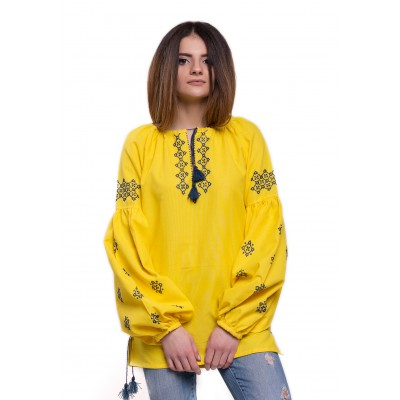 "Embroidered Blouse ""Ornaments Amber"" handmade"