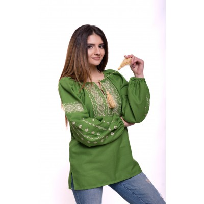 "Embroidered Blouse ""Happy Moments"" green"