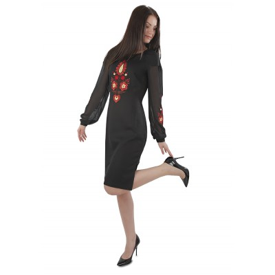 "Embroidered dress ""Black Petrykivka Style"""