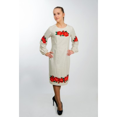 "Beads embroidered dress ""Ruby Roses"""