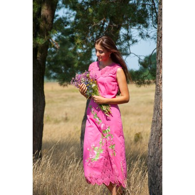 "Embroidered dress ""Double Pink"""