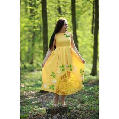 "Embroidered dress ""Double Yellow"""